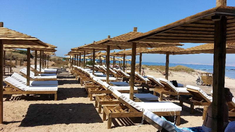 Εμποτισμένη ξυλεία σε διάφορες κατασκευές σε παραλία